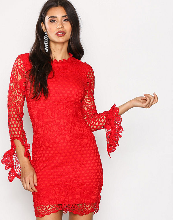 Missguided High Neck Crochet Dress Red