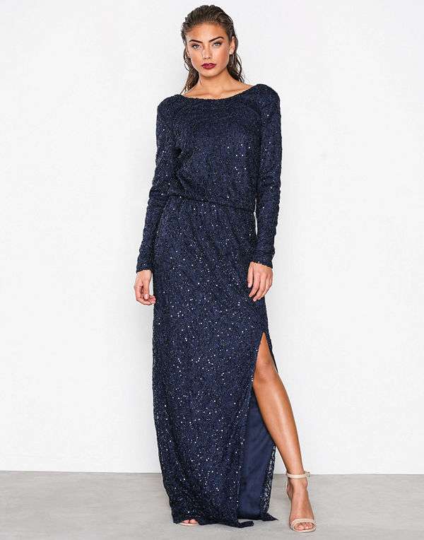 NLY Eve Sparkly Lace Gown Blå