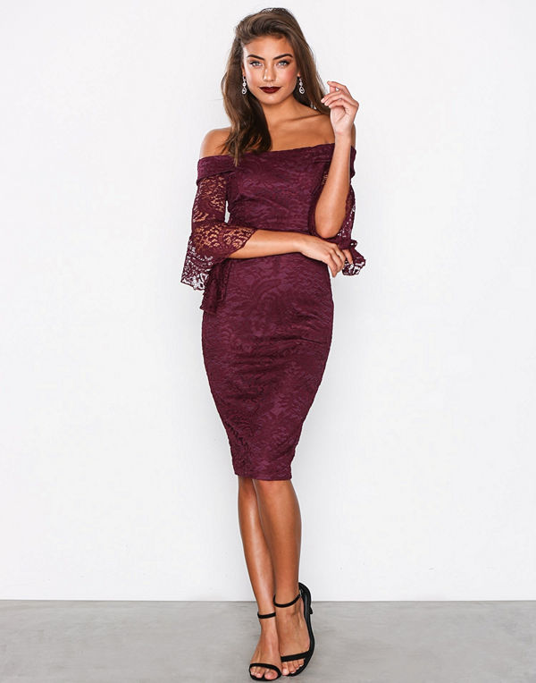 Ax Paris All About the Sleeve Dress Plum