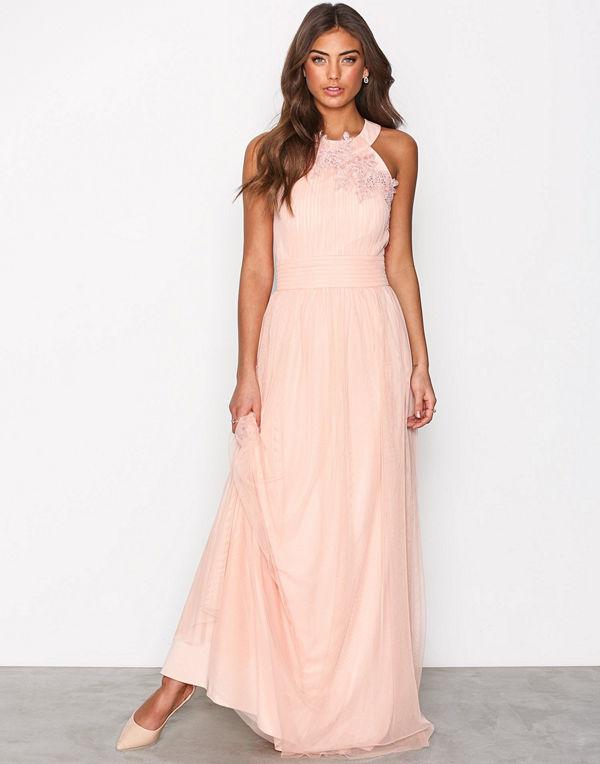 Little Mistress Floral Applique Maxi Dress Peach