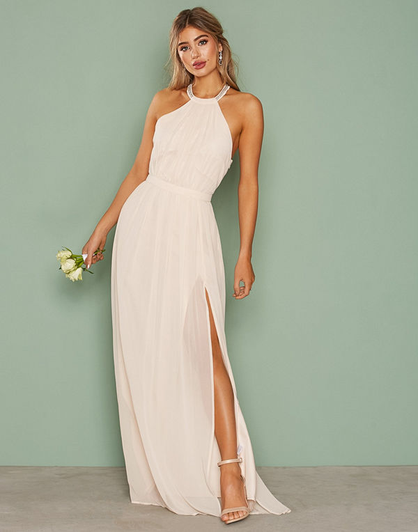 NLY Eve Halterneck Beaded Gown Champagne