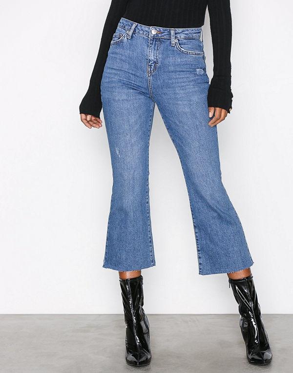 Topshop Moto Kick Flare Jeans Mid Blue