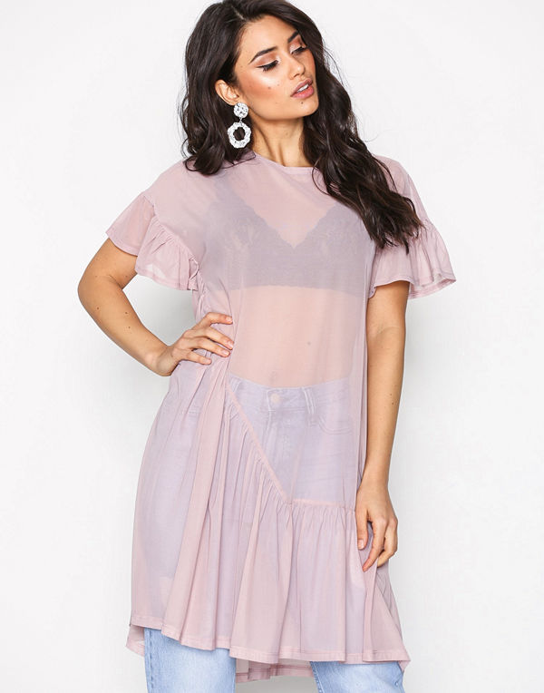 NLY Trend Cute Mesh Flounce Dress Rosa