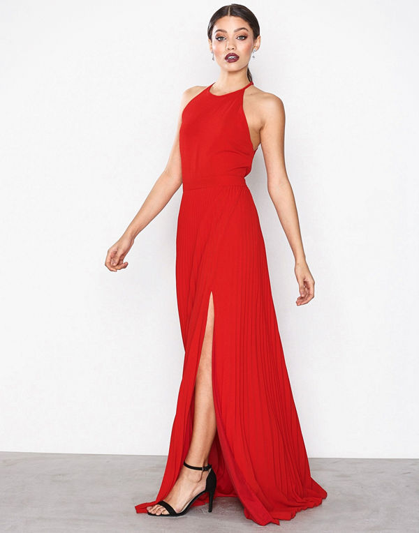 NLY Eve Pleated Lace Gown Röd