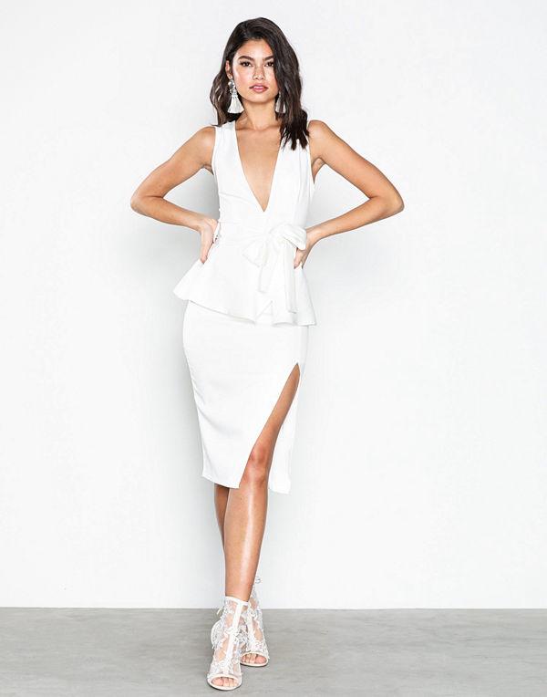 Missguided Crepe Peplum Midi Dress