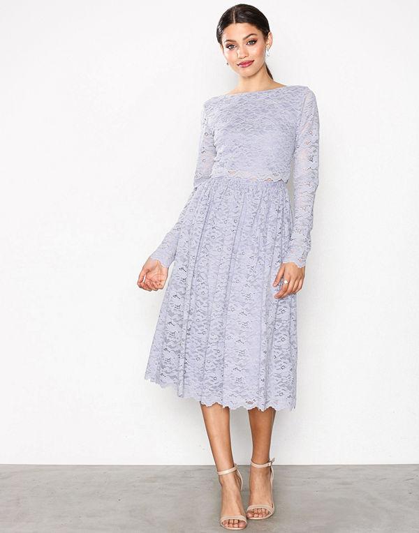 NLY Eve Lace Dream Midi Dress Ljus Grå