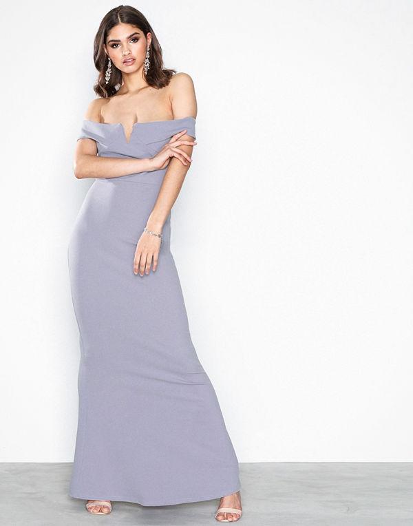 Missguided Crepe Bardot V Plunge Maxi Dress