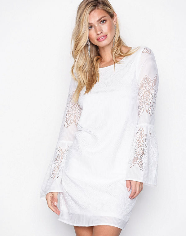 Only onlBELLA New Lace L/S Dress Wvn Vit