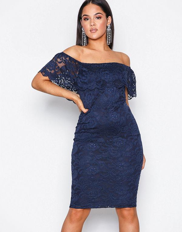 NLY One Lace Bardot Dress Navy