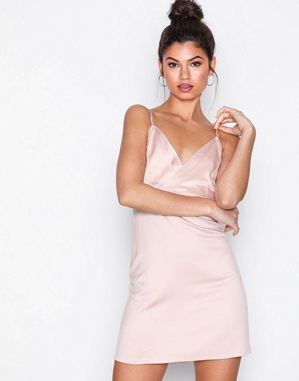 Topshop Diamante Strap Mini Slip Dress Light Beige