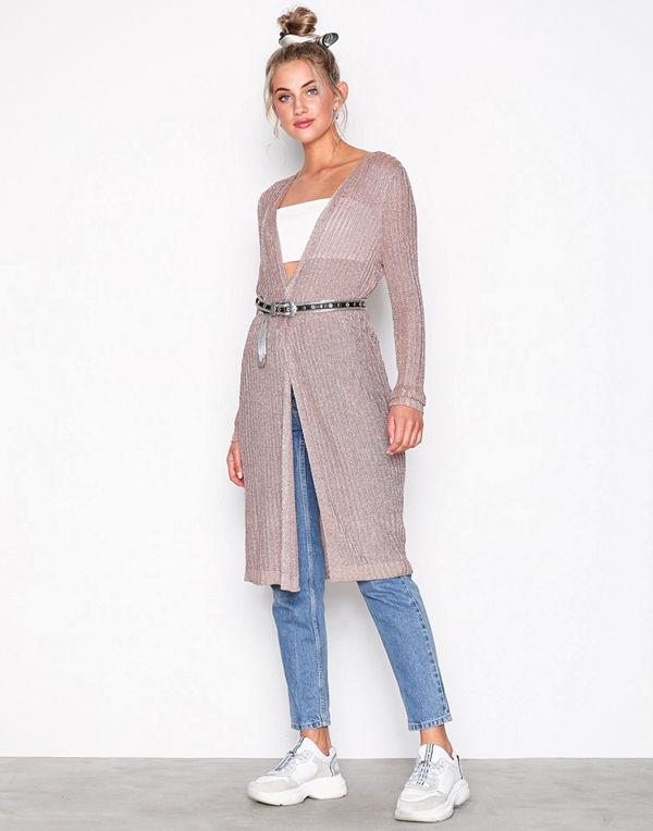 9fa94fa78f4 Topshop Metallic Ribbed Longline Cardigan Rose - Cardigans online ...