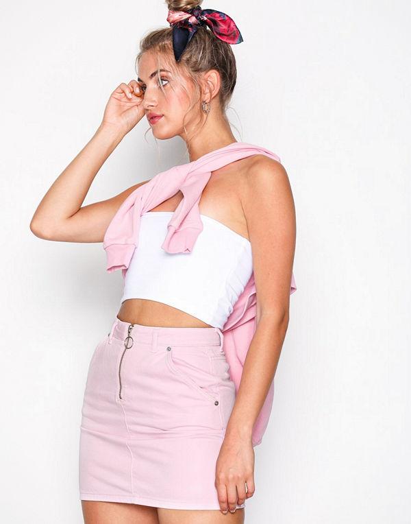 Topshop MOTO Pink Half Zip Denim Skirt