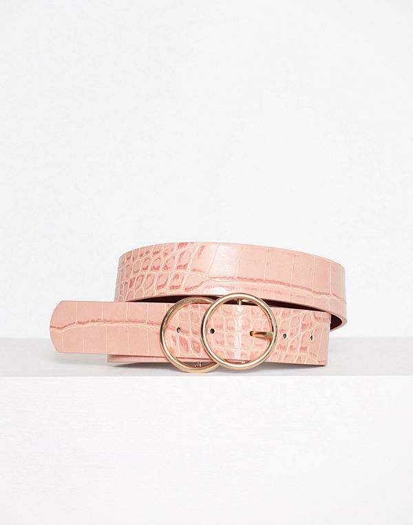 River Island Double Ring Croc Jeans Belt Pink