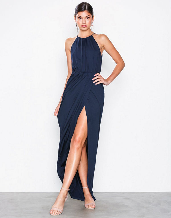 NLY Eve Drapy Slit Gown Navy