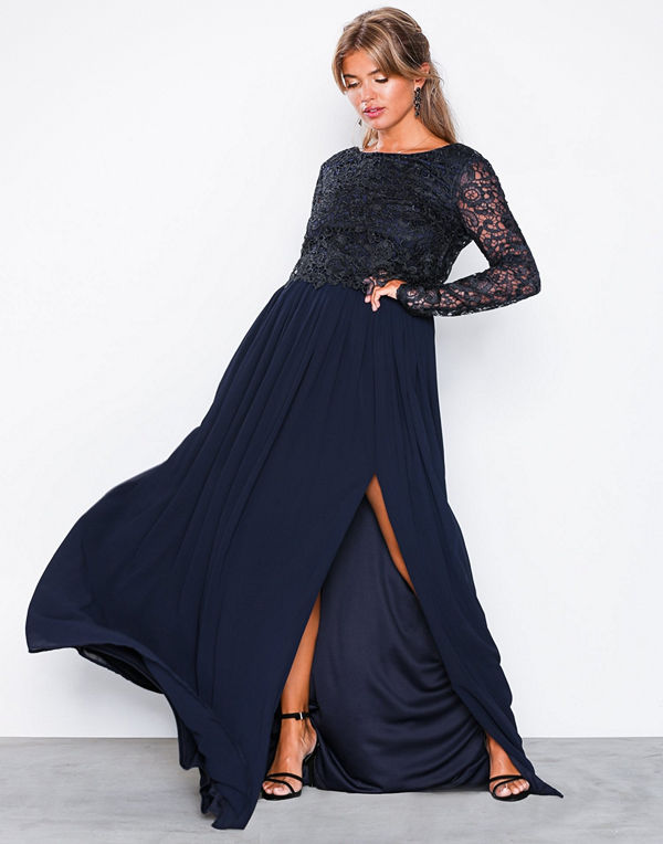 NLY Eve Lace Trim LS Gown Navy