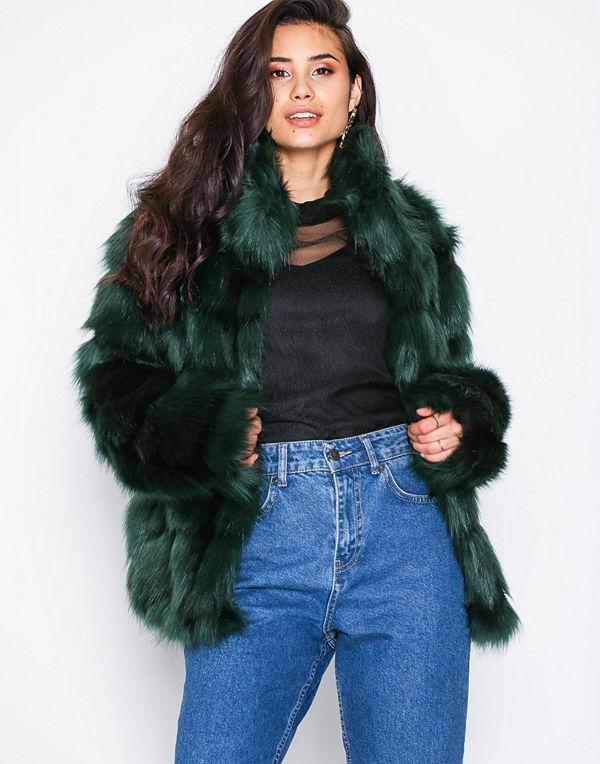 NLY Trend Fluffy Fur Jacket Grön