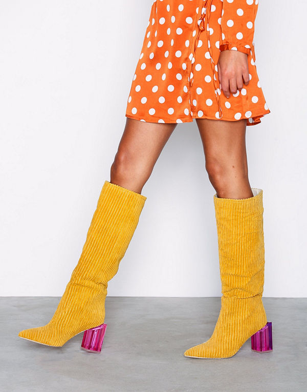 NLY Shoes Corduroy Glass Heel Boot Mustard
