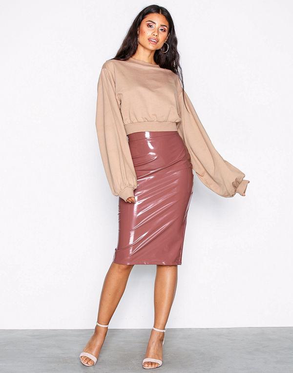 NLY One Patent Midi Skirt Mörk Rosa