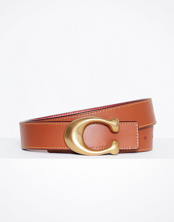 Coach 32mm Sculpted C Reversible Belt Röd