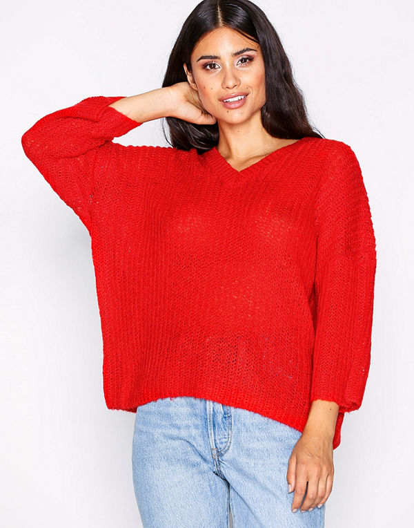 Only onlSAN Diego 3/4 V-Neck Pullover Kn Röd