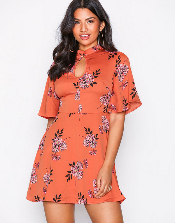Glamorous High Neck Floral Dress Coral