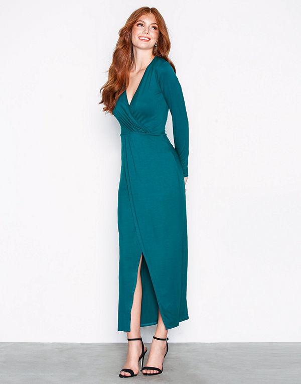 931449b94400 NLY Trend Long Sleeve Wrap Dress Teal - Klänningar online ...