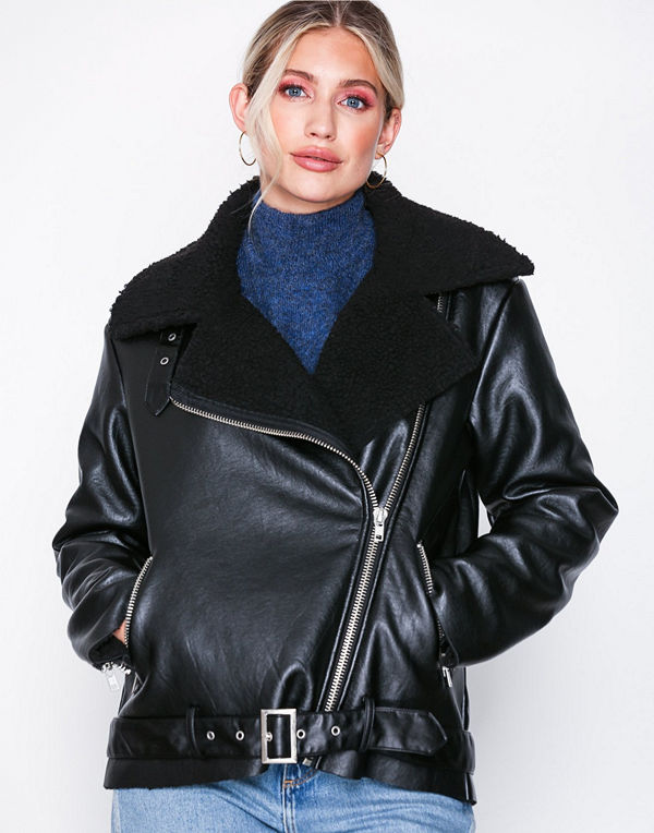 Glamorous svart bomberjacka Faux Fur PU Jacket