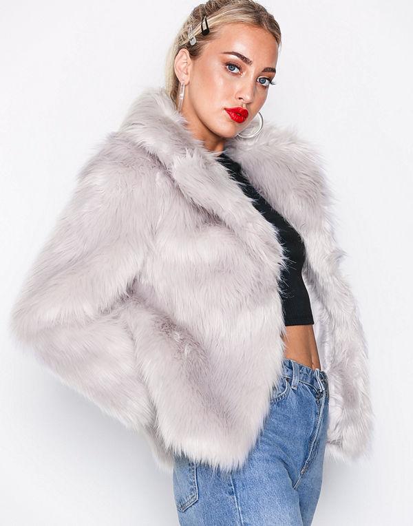 Topshop Faux Fur Coat Light Grey
