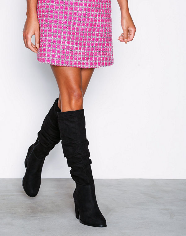 NLY Shoes Drop Knee High Boot Svart