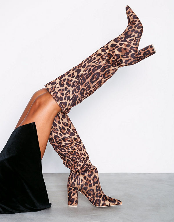 NLY Shoes Wide Knee High Boot Leo