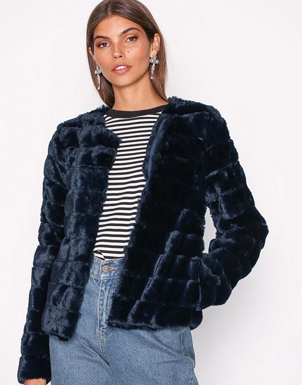 Vero Moda Vmavenue Faux Fur Short Jacket Boos Mörk Blå