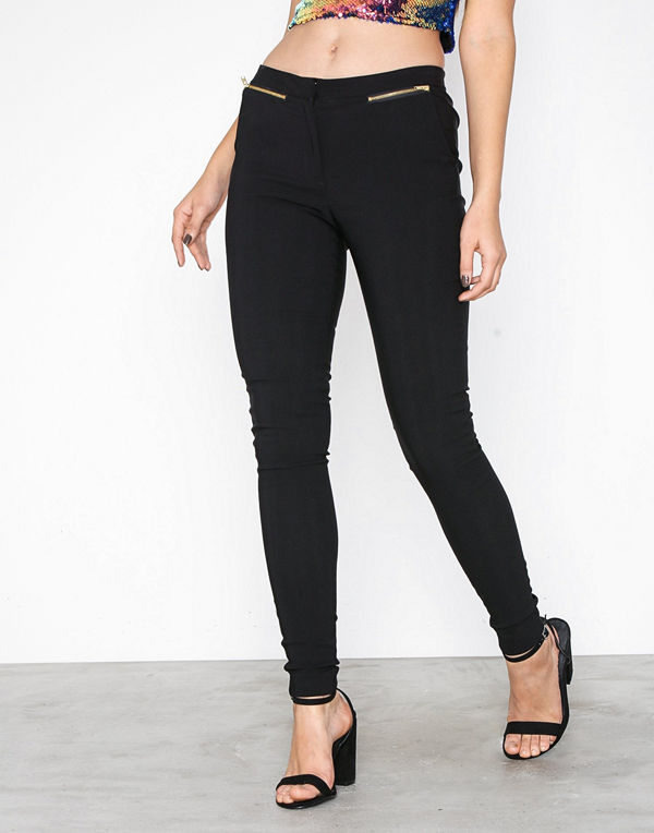 New Look svarta byxor Zip Side Stretch Slim Leg Trousers