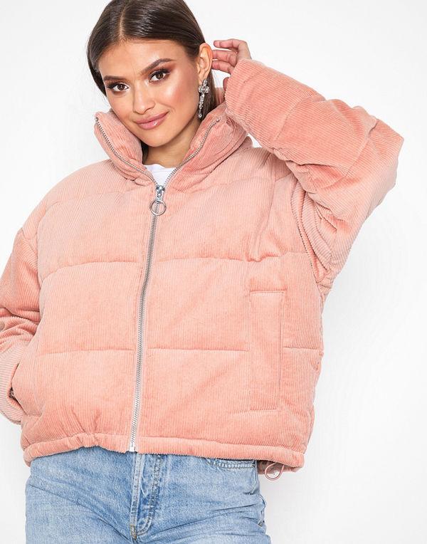 Topshop persikofärgad bomberjacka Cord Puffer Jacket Pink