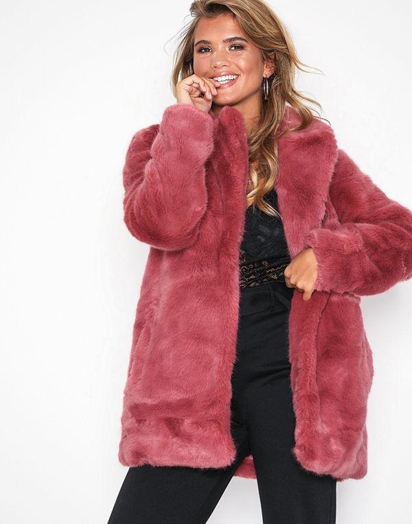 Only onlMILANA Faux Fur Coat Otw Rosa