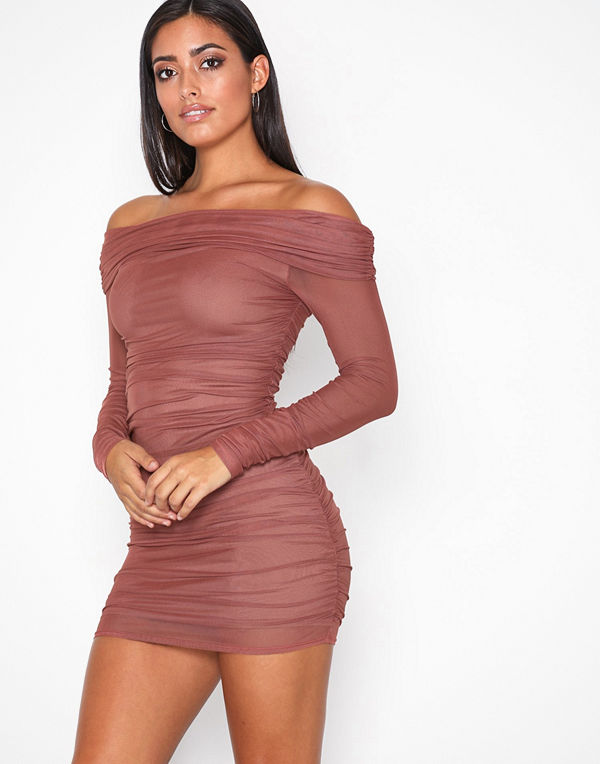NLY One Mesh Off Shoulder Dress Rust