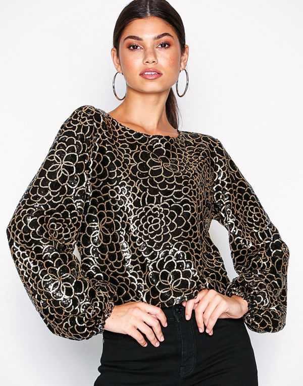 NLY Trend Sheer Sequin Top