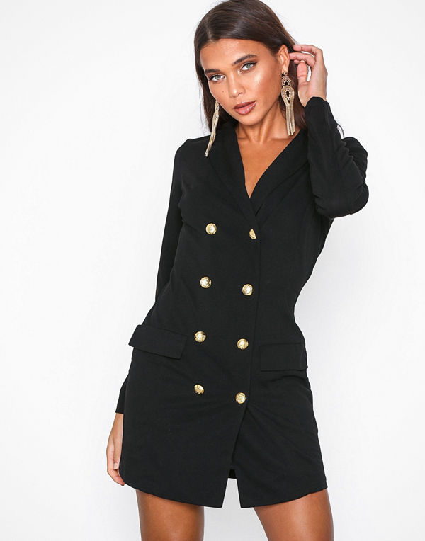 Ax Paris Long Sleeve Blazer Dress Black