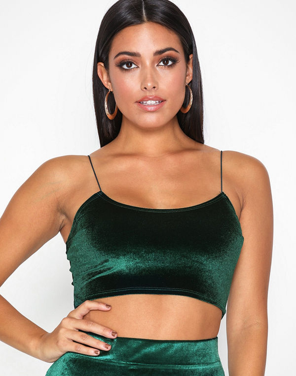 NLY One Strap Velvet Crop Top