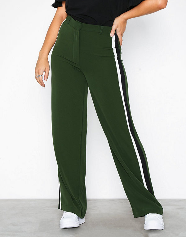 New Look mörkgröna byxor Side Stripe Wide Leg Trousers