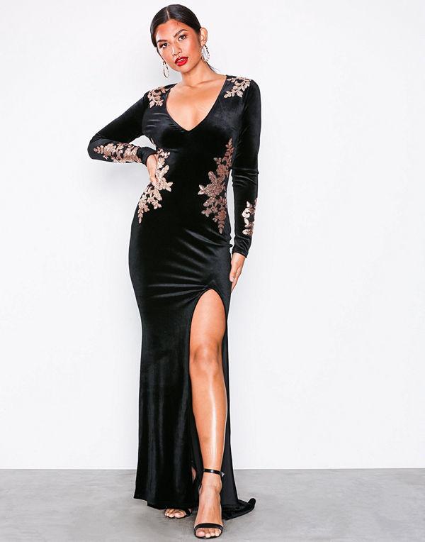 NLY Eve Decore Velvet Gown Svart
