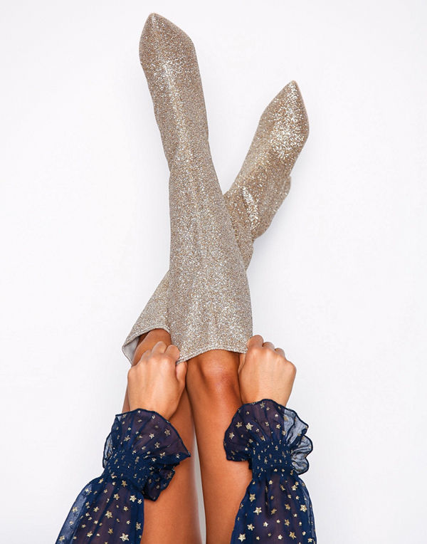 NLY Shoes Wide Knee High Boot Glitter