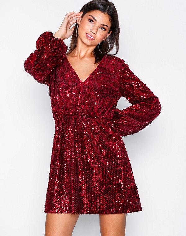 NLY Trend Perfect Velvet Sequins Dress Röd