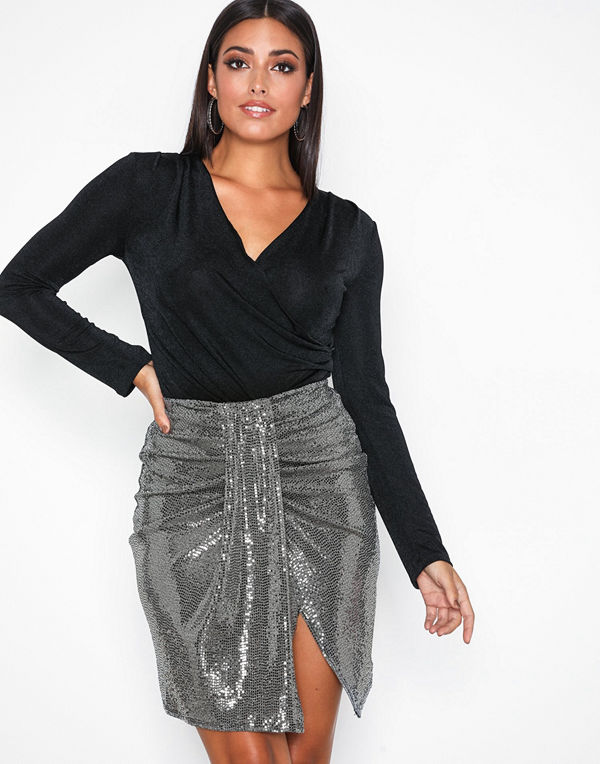 NLY One Sequins Skirt Silver