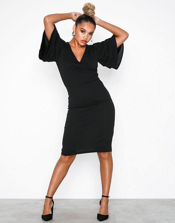 Parisian Frill Sleeve Wrap Front Bodycon Dress Black