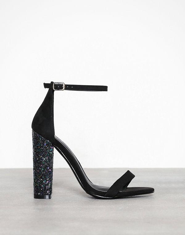 Missguided Glitter Block Heel Black