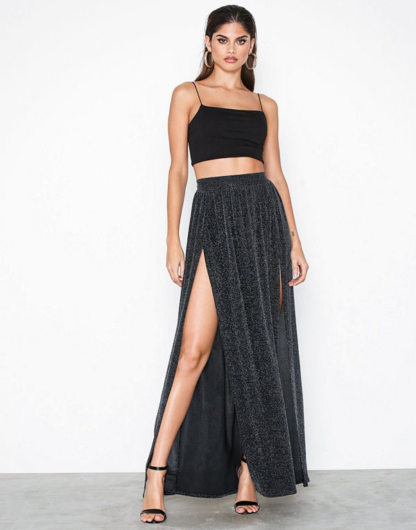 NLY One Double Split Lurex Skirt Svart