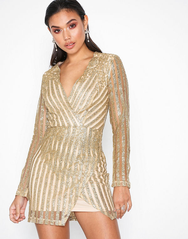 Missguided Glitter Striped Front Wrap Dress Gold