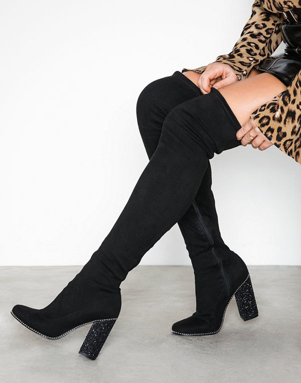 NLY Shoes Glam Thigh High Boot Svart
