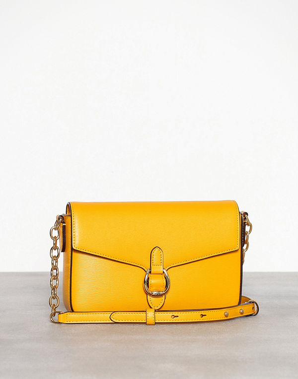 Lauren Ralph Lauren gul axelväska Flap Crossbody Medium