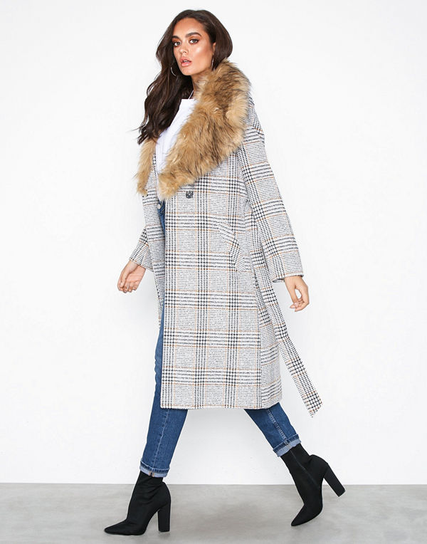 River Island Mongolian Fur Check Robe